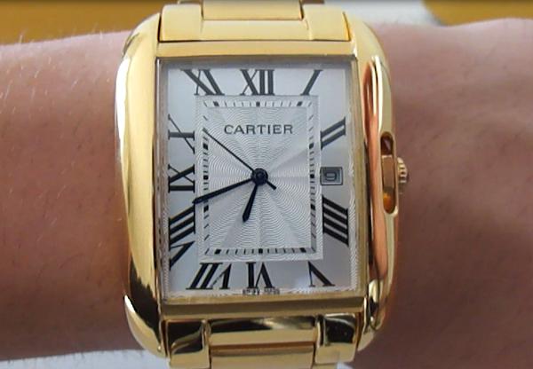 Cartier Tank Inglesa oro amarillo plateado reloj de replica