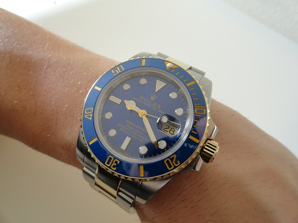 Rolex Submariner Date Blue Diamond Dial de dos tonos oro amarillo Reloj de la reproducción