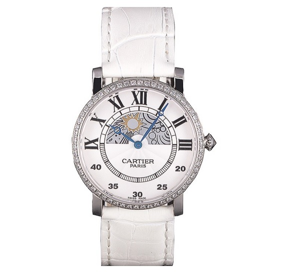 Fase lunar Cartier Reloj de plata impresiona por su pureza